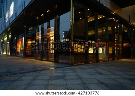 Ningbo China-MAY.23.2016: Gucci store at night. Gucci is an Italian fashion and leather goods brand was founded by Guccio Gucci in Florence in 1921. Gucci has about 425 stores worldwide.
