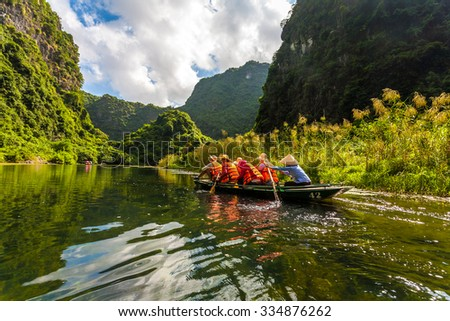 Ninh Binh, Vietnam Otc 29,2015: Trang An is UNESCO World Heritage Site, renowned for its boat cave tours. It's Halong Bay on land of Vietnam