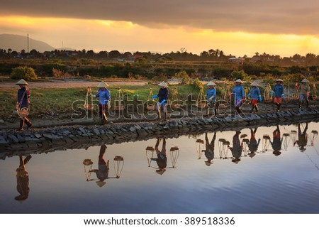 Ninh Thuan Province, Vietnam - February 28, 2016 :the women are working on salt field at dawn. Salt field Hon Khoi in Nha Trang, Viet Nam. Workers transporting salt from the fields Hon Khoi, Viet Nam.