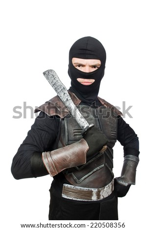 Ninja with knife isolated on white - stock photo