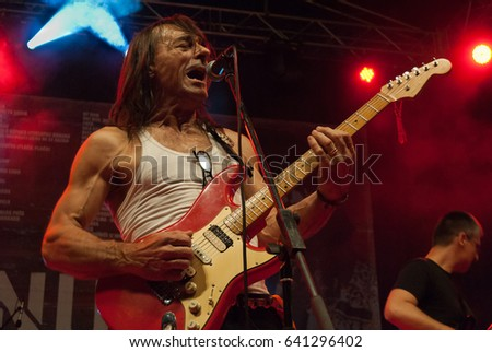 NIS - AUGUST 14:Dado Topic famous rock musician as he plays on Nisville jazz festival, on August 18;2012 in Nis, Serbia