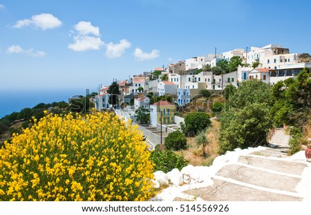 Nissyros, Greece - May 17, 2010: The Nikia village on the volcano border