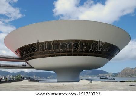 NITEROI - August 11 : Museum of Contemporary Art (MAC) on August 11, 2008 in Niteroi. Designed by Brazilian architect Oscar Niemeyer. Located in Niteroi, Rio, Brazil. - stock photo