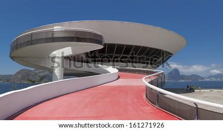 NITEROI, BRAZIL - OCTOBER 19: Niteroi Contemporary Art Museum (MAC) designed by Oscar Niemeyer in the city of Niteroi, Rio de Janeiro, Brazil, on October 19, 2013. - stock photo