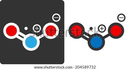 Nitrogen dioxide (NO2, NOx) toxic gas and air pollutant, flat icon style. Atoms shown as color-coded circles (oxygen - red, nitrogen - blue).	 - stock photo