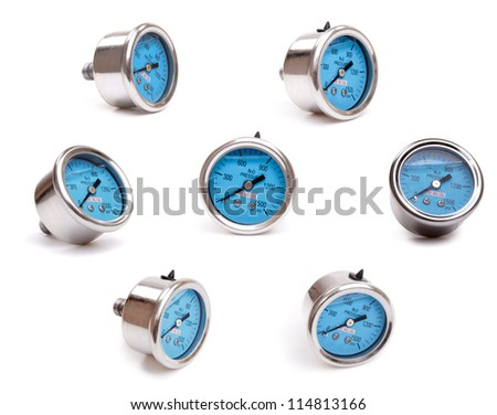 Nitrous pressure gauges on the white background