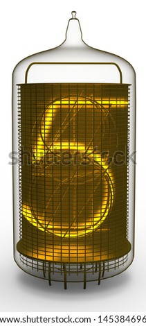nixie tube indicator 5 - stock photo