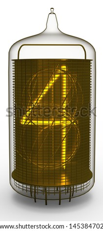 nixie tube indicator 4 - stock photo