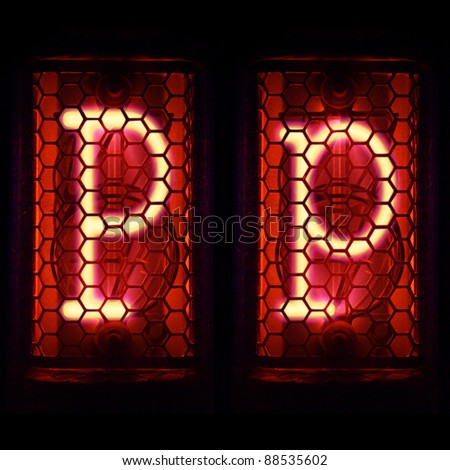"Nixie tube indicator set of letters the whole alphabet. The letter ""P"". - stock photo"