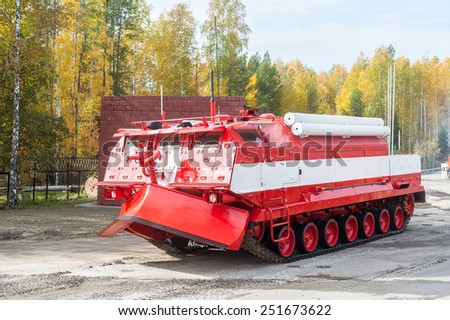 Nizhniy Tagil, Russia - September 25. 2013: Direct fire suppression vehicle MPT-521 in motion for display of opportunities of equipment. Russia Arms Expo-2013 exhibition - stock photo