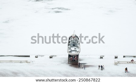 Nizhny Novgorod, Russia - January 03: Monument of the boat Hero on Volga river in Nizhny Novgorod, Russia on January 03, 2015. It is took part in the Battle at Stalingrad during the Second World War. - stock photo