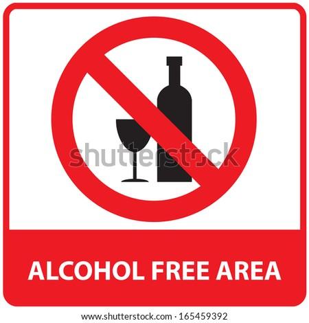 No alcohol free area sign.JPG - stock photo