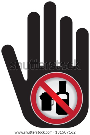 No Alcohol Prohibited Sign Present By Hand With No Beer Sign Inside Isolated on White Background - stock photo