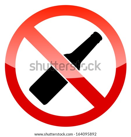 No alcohol sign on a white background - stock photo