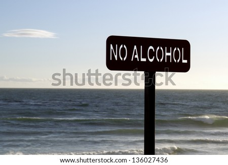 No Alcohol sign posted at the beach - stock photo
