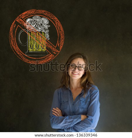 No beer alcohol alcoholic business woman, student or teacher on blackboard background - stock photo