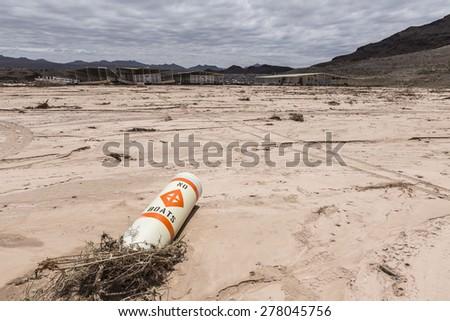 No boats buoy at drought damaged marina in Lake Mead national Recreation Area. - stock photo
