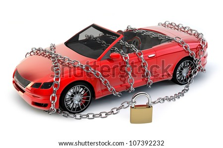 NO BRAND Car protected wrapped with chain and lock, MY OWN DESIGN, NO TRADEMARKS