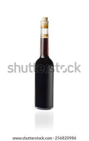 No brand glass bottle of vinegar on white background - stock photo