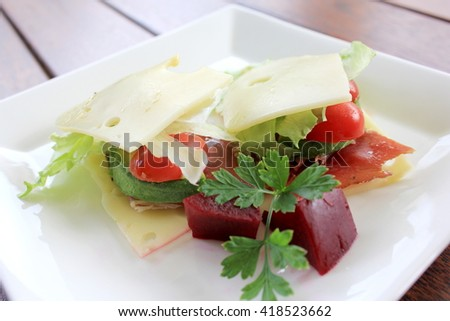 No Bread Sandwich with Pickled Beetroot 1 - stock photo