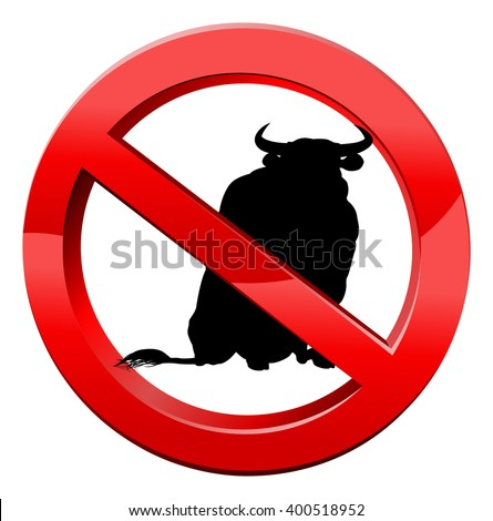 No bull concept of a bull in a red circle with a line through it. No bull, or plain speaking concept. - stock photo
