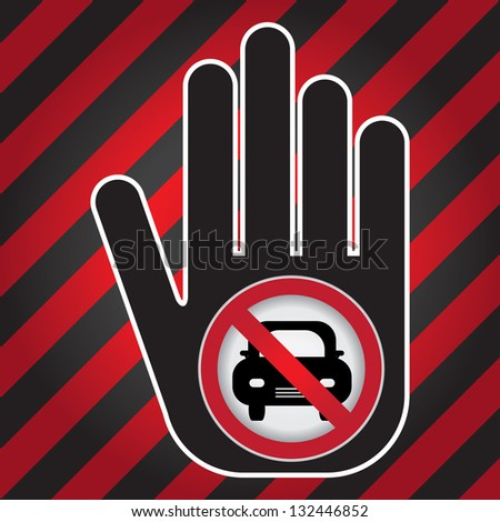 No Car Prohibited Sign Present By Hand With No Car Sign Inside in Caution Zone Dark and Red Background - stock photo