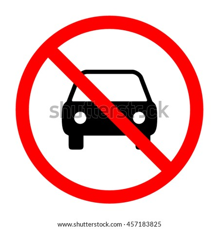 No Car Sign Symbol On White Stock Illustration 457183825 Shutterstock