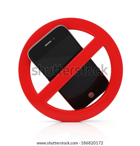 No Cell Phone Sign isolated on white background - stock photo
