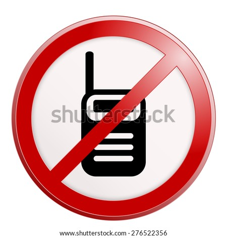 No cell phone sign. raster version illustration isolated on white. - stock photo