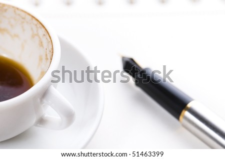 no concept. blank page, empty cup of coffe, pen - stock photo
