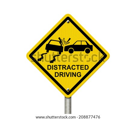 No Distracted Driving Sign, Yellow warning sign with words Distracted Driving and accident icon isolated on white - stock photo