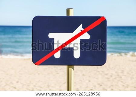 No dog sign on a beach - stock photo
