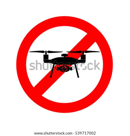 No drone circular  traffic sign, illustration