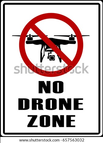 No Drones Zone Sign To Warning All Remote Control Aircraft Prohibit Area Isolated On White Background