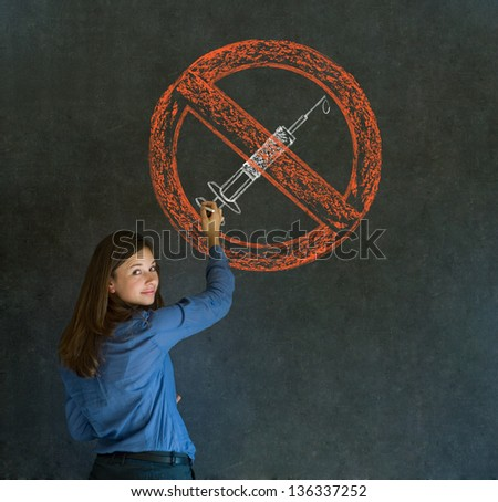 No drugs addict business woman, student or teacher on blackboard background - stock photo