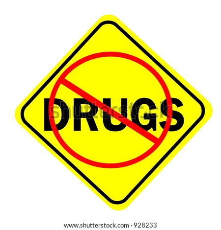No Drugs Sign isolated on a white background - stock photo