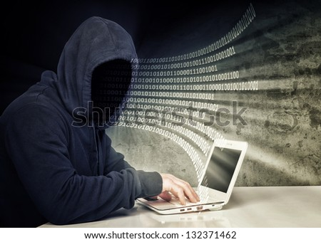 no face hacker and binary code - stock photo