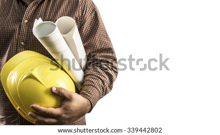 No face Unrecognizable person. Torso engineer, worker or architect holding in hand blueprint and yellow plastic helmet, hardhat isolated on white background Empty copy space for inscription, objects - stock photo