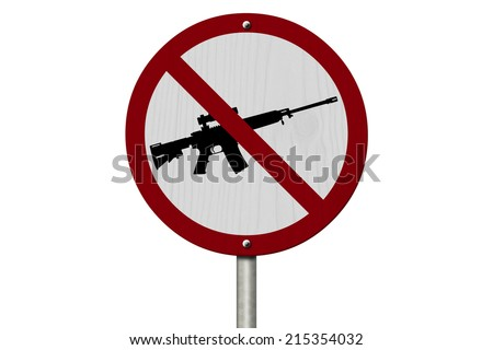 No Firearms Allowed Sign, An red road sign with handgun icon and not symbol isolated on white - stock photo