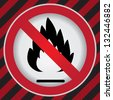 No Flammable or Non Burnable Good Prohibited Sign in Caution Zone Dark and Red Background - stock photo