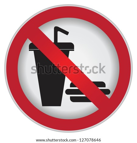 No Food and Drink or No Eating and Drinking Prohibited Sign Isolated on White Background - stock photo