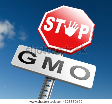 no gmo stop genetic manipulated organisms or food engineering - stock photo
