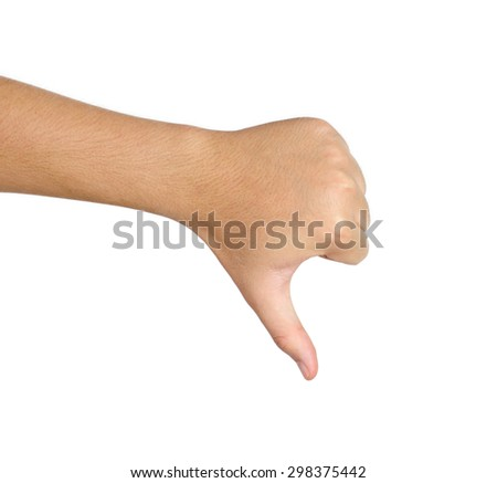 no good thumb sign isolated on white background