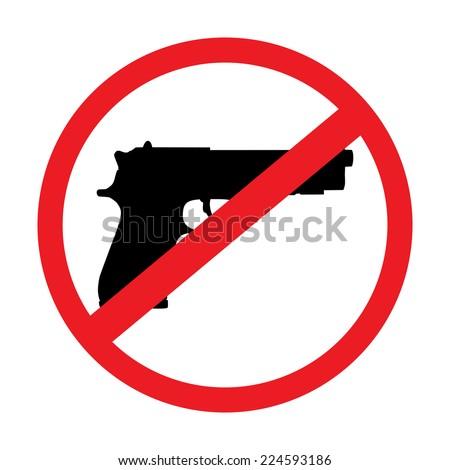 no gun sign - isolated illustration - stock photo
