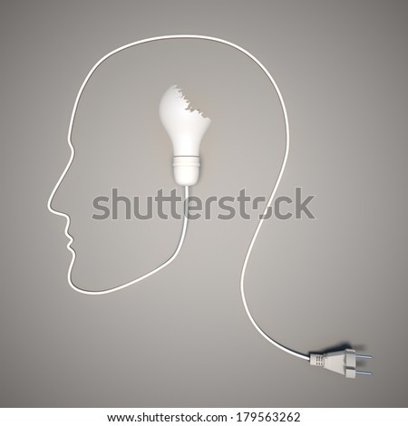 No idea. Broken light bulb and wire in the shape of the face - stock photo