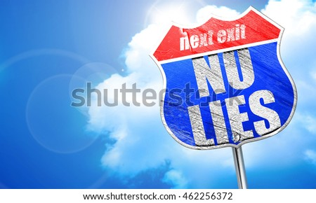 no lies, 3D rendering, blue street sign