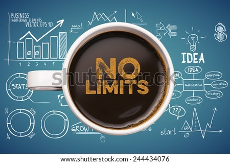 no limits. coffee mug with business sketches background - stock photo