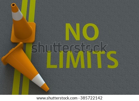 No Limits, message on the road - stock photo