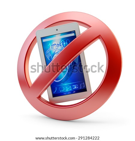 No mobile phone usage allowed sign, cellular communication forbidden symbol isolated on white background (My own design, 3d model and render) - stock photo