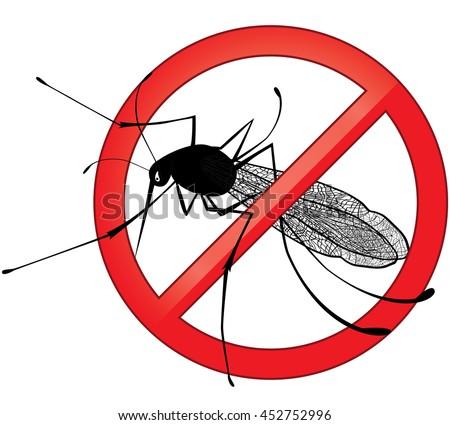 No mosquito gnat insect sign. Carry many disease such as dengue fever, zika virus, yellow fever, chikungunya disease, filariasis, malaria , enchaphalitits. Raster version - stock photo